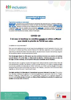 Communiqué de presse sur l'accès aux soins pour les personnes en situation de handicap
